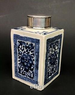 Antique 19th Chinese Blue White Porcelain Covered Tea Caddy Sterling Silver Lid