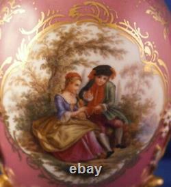 Antique 19thC Meissen Porcelain Scenic Tea Caddy Jar Vase Porzellan Dose Germany