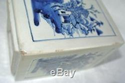 Antique Asian Chinese Porcelain Tea Caddy Box Blue Artemisia Leaf Mark Kangxi