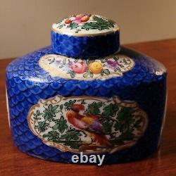 Antique Chelsea Longton PORCELAIN COVERED TEA CADDY
