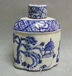 Antique Chinese Blue White Porcelain Tea Caddy