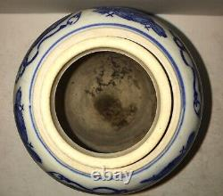 Antique Chinese Blue & White Porcelain Tea Caddy China Dynasty Import
