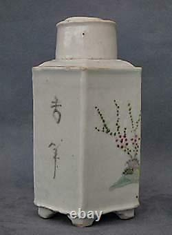 Antique Chinese Export Famille Rose Porcelain Tea Caddy Qing Dynasty