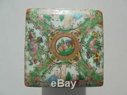 Antique Chinese Export Porcelain Rose Medallion Square Tea Caddy Spice Herb Box