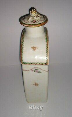 Antique Chinese Export Porcelain Tea Caddy withOriginal Lid 1775-90 18th Century