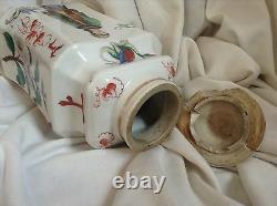 Antique Chinese Handpainted White Porcelain Tea Caddy Dragon Beauty Calligraphy