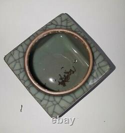 Antique Chinese Porcelain Crackel Cracked Design Tea Caddy Jar Lid Kanji