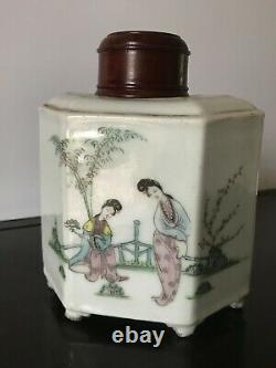 Antique Chinese Porcelain Hand Painted Eastern Beauty Tea Caddy withRosewood Lid