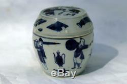 Antique Chinese Porcelain Scholar's Blue and White Tea Caddy Qing