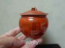 Antique Chinese Porcelain Tea Caddy Coral Glazed Gold Painted 2 Dragons Marked