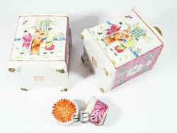 Antique Chinese Porcelain Tea Caddy Decorated With Figures 19th Red Seal Mark