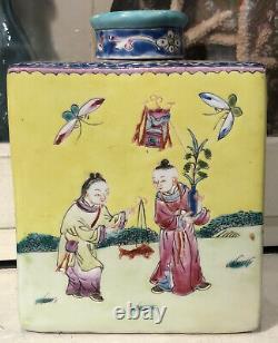 Antique Chinese Porcelain Tea Caddy San Yang Kai Tai 3 Goats Good Fortune