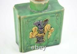 Antique Chinese Square Tea Caddy Porcelain Green Glazed with Flower and Xi Word
