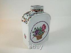 Antique Chinese or European Porcelain Tea Caddy Deutsche Blumen 18th / 19th C