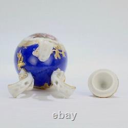 Antique Dresden Porcelain Egg Shaped Tea Caddy Powder Blue Ground Rococco PC 1