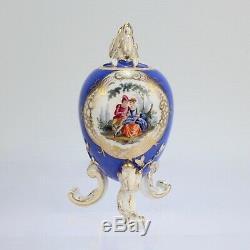 Antique Dresden Porcelain Egg Shaped Tea Caddy Powder Blue Ground Rococco PC 2