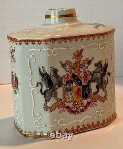 Antique Edme Samson Paris Armorial Griffin Porcelain Tea Caddy 19th Century