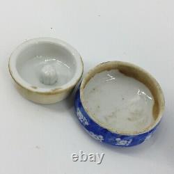 Antique Export Chinese Porcelain Tea Caddy Ginger Jar Blue White Lid & Insert