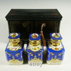 Antique French Inlay Wood Tea Caddy Box, Hand Painted Paris Porcelain Bottles