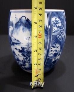Antique Ginger Tea Jar Caddy Blue White Porcelain Landscape Arita Lidded Water