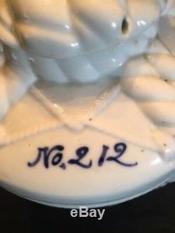 Antique Japanese Sake Jug Cask Porcelain WHITE BLUE NEAR PERFECT