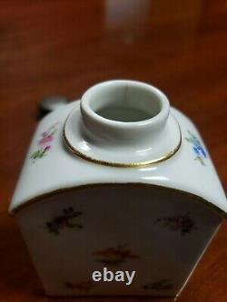 Antique Meissen Porcelain Hand Painted Floral Tea Caddy Jar, 4 1/4