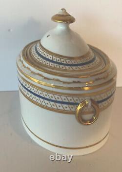 Antique Old Paris Porcelain Blue Gold Sugar Box / Tea Caddy