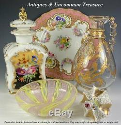 Antique Old Paris Porcelain, Possibly Unsigned Jacob Petit, Decanter, Tea Caddy