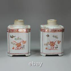 Antique Pair of Chinese Famille Verte Square Tea Caddies, Kangxi (1662-1722)