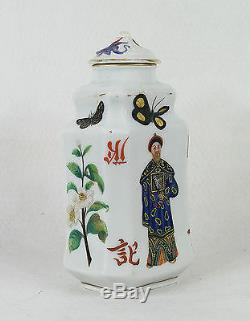 Antique Porcelain Tea Caddy Chinoiserie Chinese Motif circa 1880