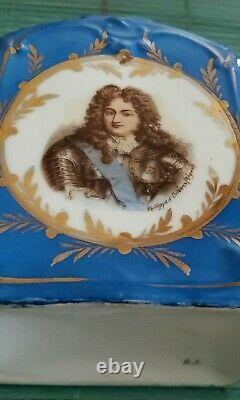 Antique Sevres Style French Louie XIV Portrait Tea Caddy