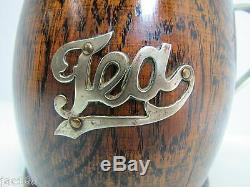 Antique Victorian 1800's TEA CADDY w Handle & Lid EPNS Wood Porcelain ornate