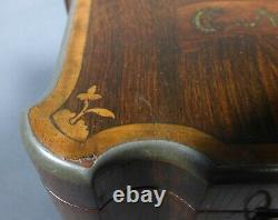 Antique Wood Tea Caddy Porcelain Interior Marquetry With Key