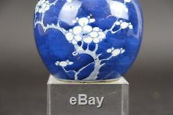 Antique blue and white Chinese porcelain Cherry Blossom vase, 18th C, 9.5cm