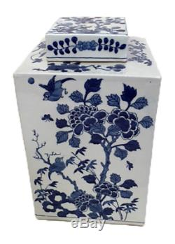 Beautiful Blue and White Floral Floral Bird Porcelain Square Tea Caddy 12
