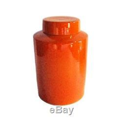 Beautiful Solid Orange Porcelain Tea Caddy Jar 13