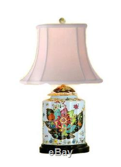 Beautiful Tobacco Leaf Porcelain Tea Jar Caddy Table Lamp 27