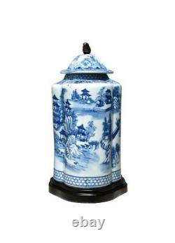 Blue and White Blue Willow Porcelain Scalloped Tea Caddy Jar 15