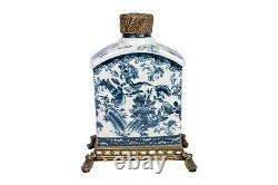 Blue and White Floral Bird Motif Porcelain Tea Caddy Brass Ormolu Accents 10