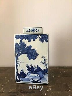 Blue and White Porcelain 3 Men Motif Square Tea Caddy Jar 11
