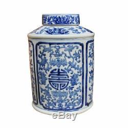 Blue and White Porcelain Floral Longevity Round Tea Caddy Jar 15