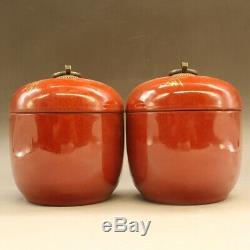 China Porcelain Hand Drawn Pine Tree Crane Copper Ring Cover Pot Tea-Caddy Pair