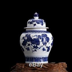 China antique Porcelain Qing blue white painting watermelon jar pot Tea canister