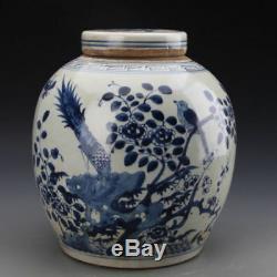 China old antique Porcelain QING Blue & white bird phoenix Tea Caddy Lid Jar Pot
