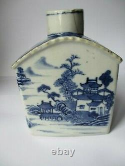 Chinese 18th Century Tea Caddy, Blue & White Painted Scenes, A F
