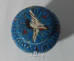 Chinese Antique Porcelain Peacock Blue Glaze Tea Caddy Crane Decor