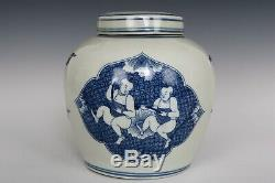 Chinese Beautiful Blue and White Porcelain Kids Character Tea Caddy