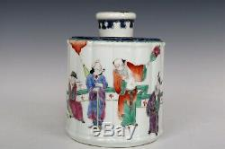 Chinese Beautiful Famille Rose Porcelain Eight Immortals Tea Caddies