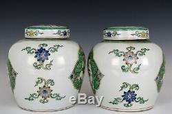 Chinese Beautiful Pair Famille Rose Porcelain Lotus and Kids Tea Caddies