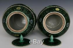 Chinese Beautiful Pair Three Color Glaze Porcelain Characters Tea Caddies